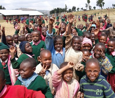 Children from Kikuyu, Kisii, and Kalenjin tribes at the new GPFF-supported school in Molo.