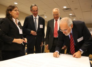 President Mesa of Bolivia signs the Presidential Mission