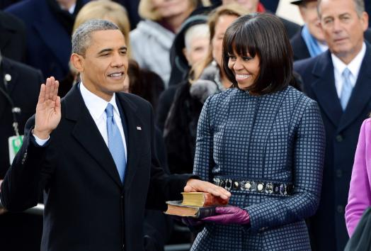 President Obama is sworn into office using two Bibles, one of Dr. Martin Luther King, Jr., and one of 16th president Abraham Lincoln. (credits: UPI.com)