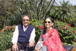 Dr. and Mrs. Chandaria enjoy the garden at their home in Nairobi.