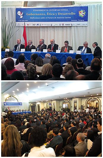 Above: Former Heads on State from four Latin American countries addressed the conference, which drew participation from government leaders, scholars, and business professionals.