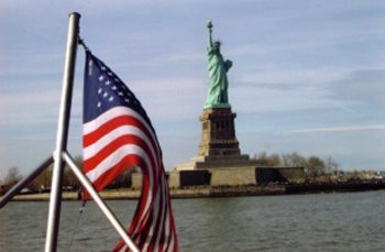 Statue of Liberty and the American Flag