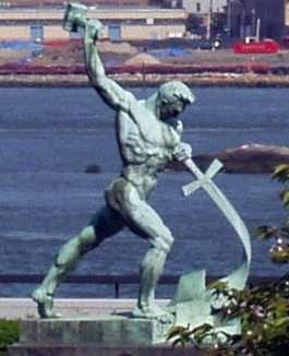 """They shall beat their swords into plowshares, and their spears into pruning hooks: nation shall not lift up sword against nation, neither shall they learn war any more. — Isaiah 2:3-4 This statue was a gift from the Soviet Union to the United Nations in 1959. (credit: Wikicommons)"