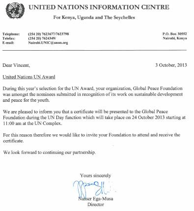 GPF received special recognition as a nominee for the UN Awards this year.