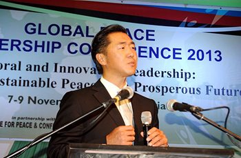 Dr. Moon Addresses International Peacemakers at Opening Plenary of Global Peace Leadership Conference Abuja 2013
