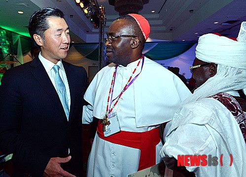 """In November 2013, Dr. Moon visited Nigeria where faith leaders launched a """"One Family Under God"""" campaign."""