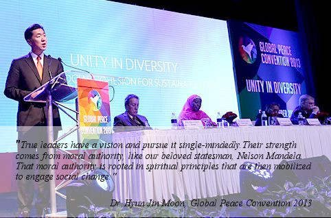 Dr. Hyun Jin Moon, Global Peace Foundation chairman at the Global Peace Convention.