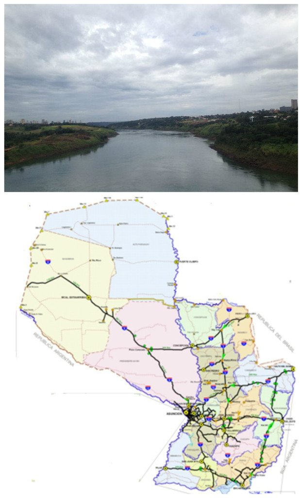 Top: A view of the Paraguay River. Bottom: A highway map of Paraguay. Alto Paraguay is noticeably underdeveloped.