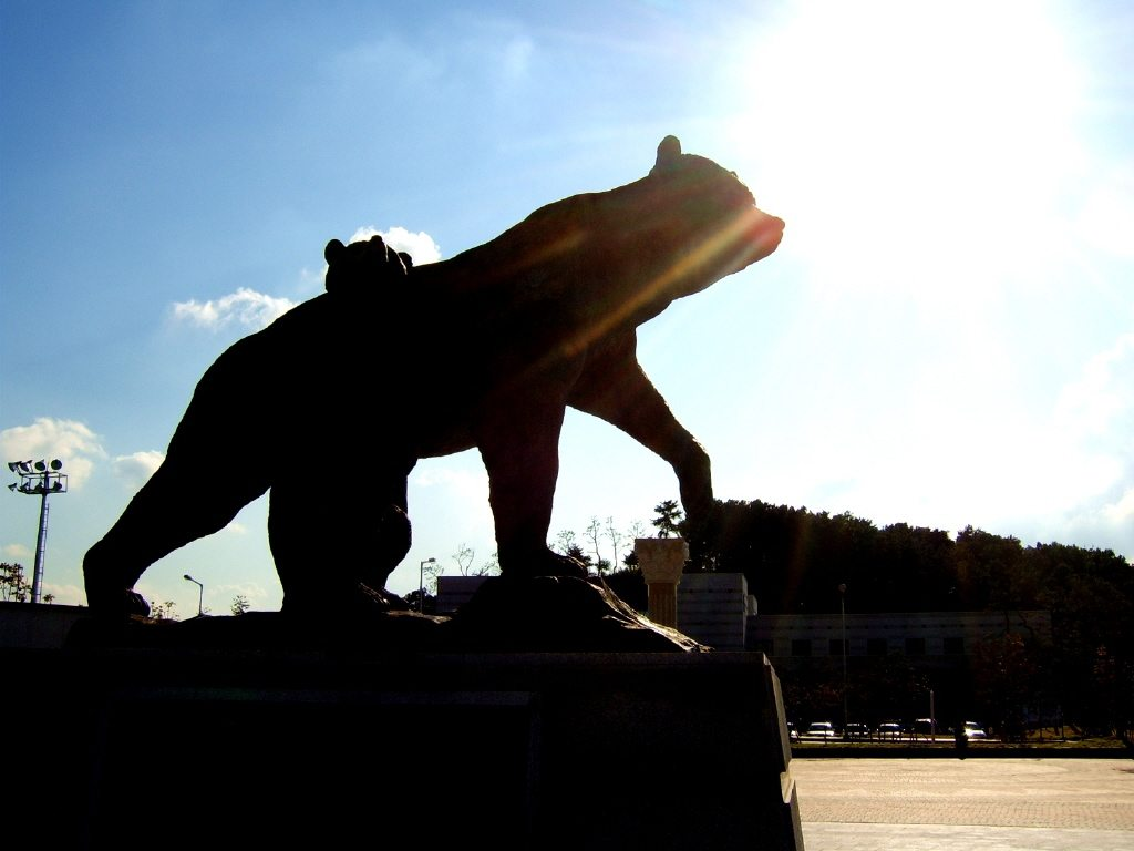 A bronze statue depicting the bear from the Tangun myth in front of Dankook University. (Photo Credit: HanKooKin)