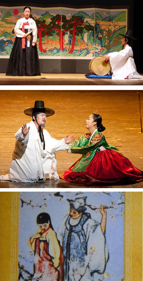 Top: Pasori is a Korean cultural form of song and dance that passes on traditional stories. Middle: Shimchung is a well-known story of a blind man and his filial daughter. (photo: Korea.net, Korean Culture and Information Services) Bottom: The book cover of Choonhyang a story of love that crosses social status. (photo: Taman Renyah)