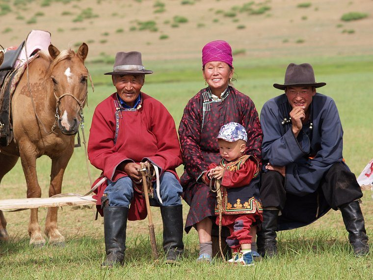 Three generations mongolian-family