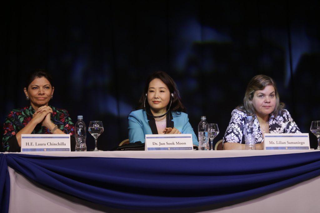 H.E. Laura Chincilla, Dr. Jun Sook Moon and Hon. Lilian Samaniego