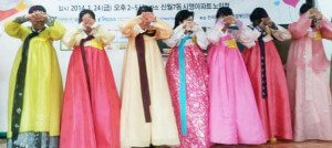 """International students perform """"chul"""", a formal greeting of deep respect reserved for the elderly of a family to local """"grandparents"""" on New Years."""