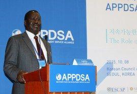 Raila Odinga speeks at the APPDSA forum