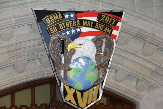 "The United States Military Academy Class of 2017 crest and motto, ""So Others May Dream."""