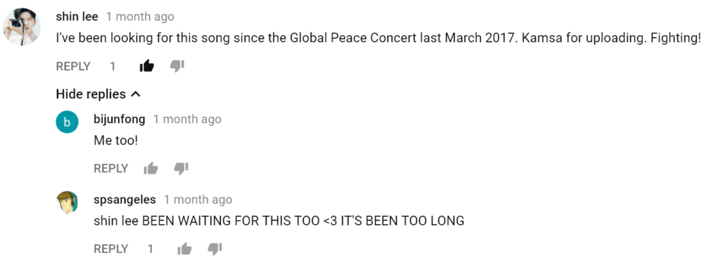 Korean Dream song youtube music video comments by fans