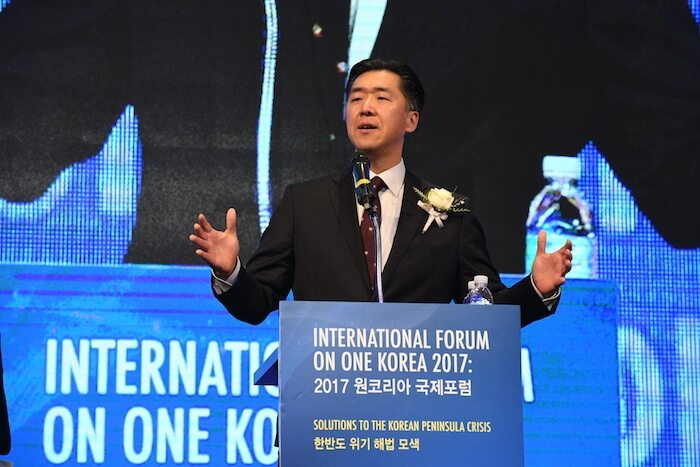 Dr. Hyun Jin Preston Moon at the International Forum on One Korea in Seoul.