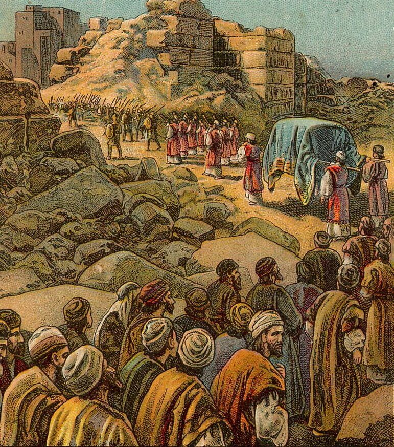 Illustration of the Battle of Jericho from a Bible card