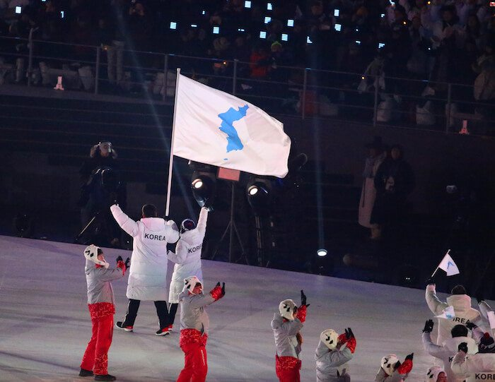 United Olympic team Korea marching into 2018 Olympics opening ceremony, South Korea