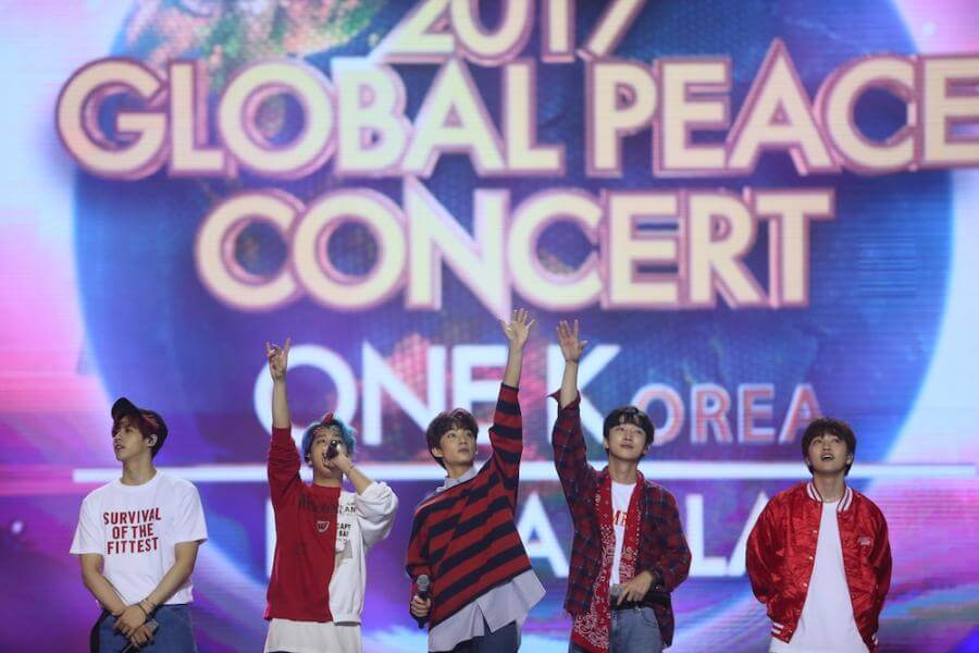 B1A4 perform at the 1K Global Peace Concert in Manila, Philippines SM Mall of Asia