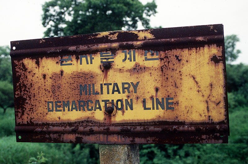 Korean War Military Demarcation Line Sign