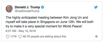 Trump-Kim Summit-Singapore Tweet