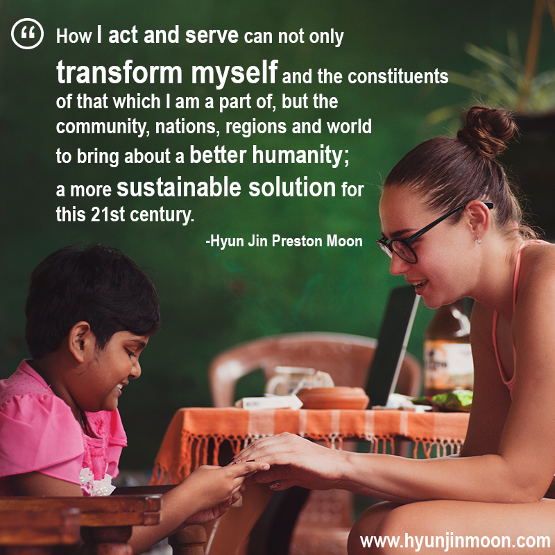 Quote from Hyun Jin Preston Moon on service and volunteer